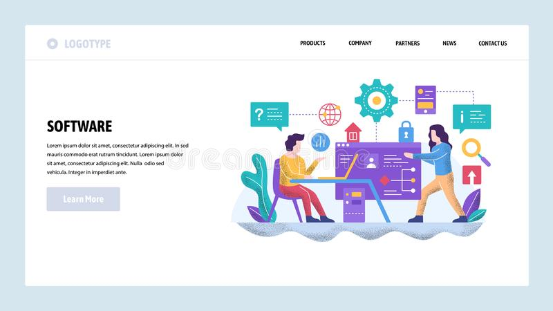 Vector web site design template. Software project development. Team of coders work together. Landing page concepts for. Website and mobile development. Modern vector illustration
