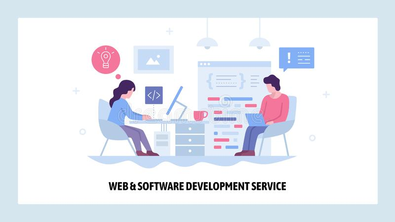 Vector web site design template. Software project development. Team of coders work together. Landing page concepts for. Website and mobile development. Modern royalty free illustration