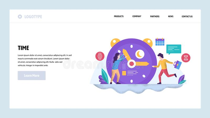 Vector web site design template. Time management and control. Business project deadline. Landing page concepts for. Website and mobile development. Modern flat vector illustration