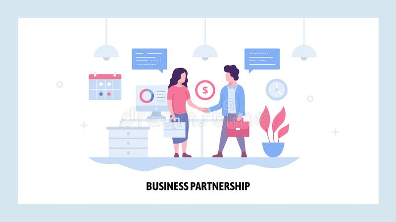 Vector web site design template. Two businessman make deal and sign contract, business partnership. Partners handshake. Landing page concepts for website and stock illustration