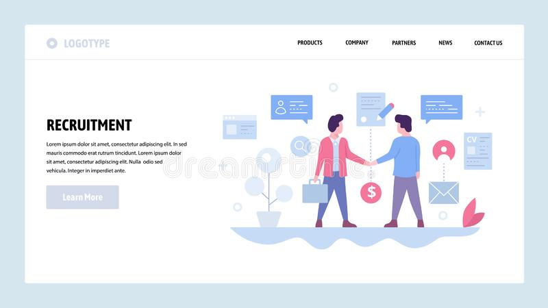 Vector web site design template. Two businessman make deal and sign contract, business partnership. Partners handshake. Landing page concepts for website and royalty free illustration