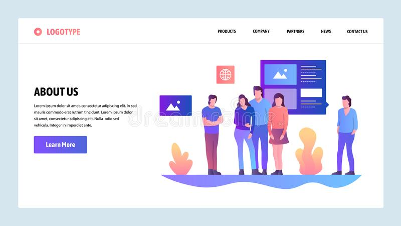 Vector web site design template. About Us company and team information page. Landing page concepts for website and. Mobile development. Modern flat illustration stock illustration