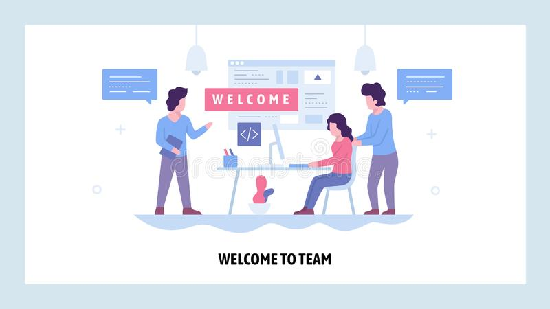 Vector web site design template. Welcome to the team. Business office, teemwork meeting. Landing page concepts for. Website and mobile development. Modern flat royalty free illustration