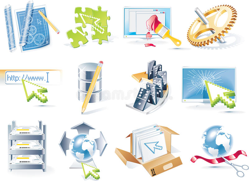 Vector Web Site Development Icon Set Royalty Free Stock Images