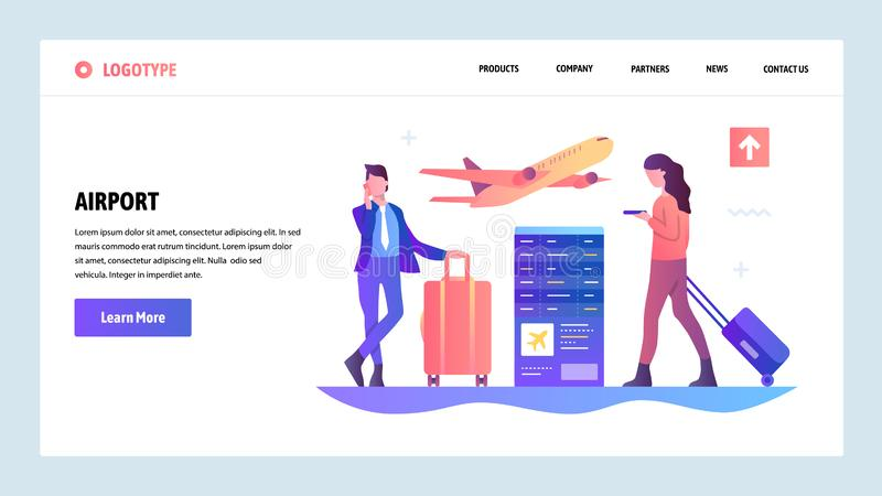 Vector web site gradient design template. Airport terminal and passengers waiting for flight. Landing page concepts for stock illustration