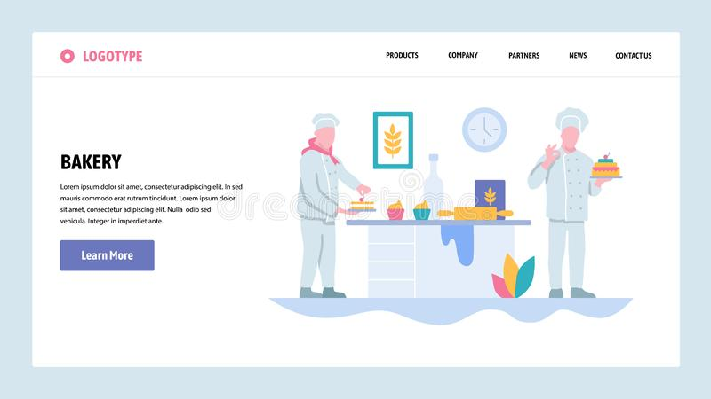 Vector web site gradient design template. Bakery shop and chef cooking cake. Landing page concepts for website and. Mobile development. Modern flat illustration vector illustration