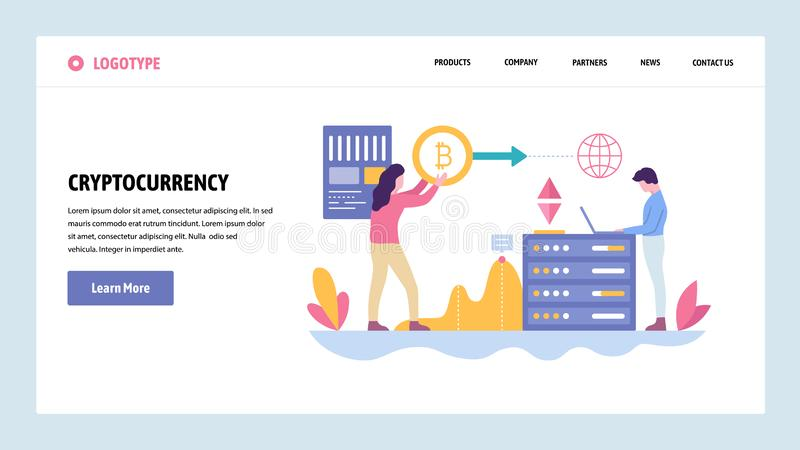 Vector web site gradient design template. Blockchain technology and cryptocurrency. Online digital money, bitcoin royalty free illustration