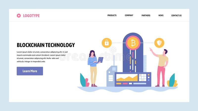 Vector web site gradient design template. Blockchain technology and cryptocurrency. Online digital money, bitcoin. Ethereum. Landing page concepts for website stock illustration
