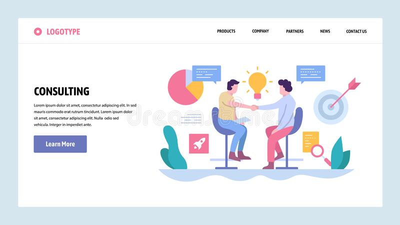 Vector web site gradient design template. Business deal, partnership contract and investment. Landing page concepts for royalty free illustration