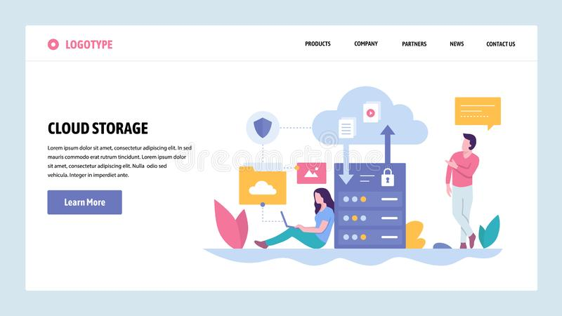 Vector web site gradient design template. Cloud storage server technology. Secure data upload and download. Landing page vector illustration