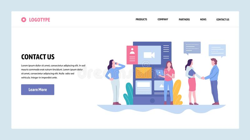 Vector web site gradient design template. Contact Us company information page. Landing page concepts for website and. Mobile development. Modern flat vector illustration