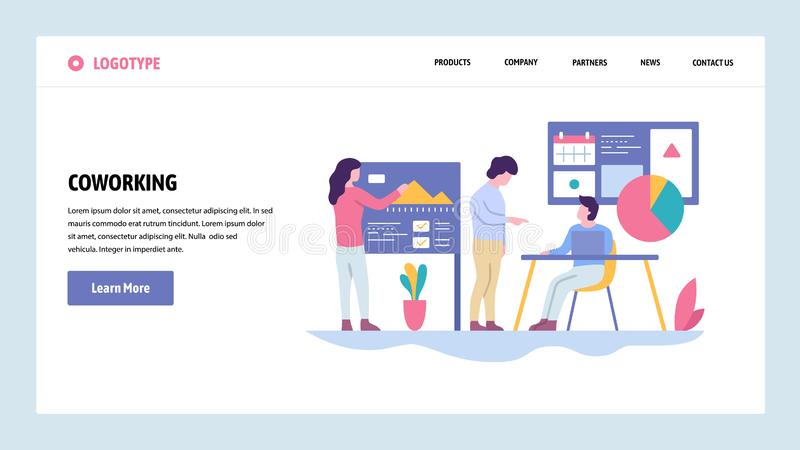 Vector web site gradient design template. Coworking space. Business team make presentation. Landing page concepts for. Website and mobile development. Modern vector illustration