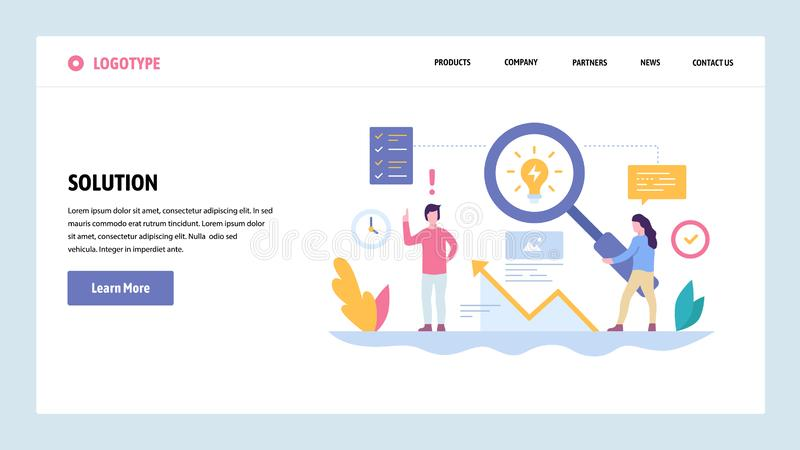 Vector web site gradient design template. Creative process and new ideas. Creativity solution concept. Landing page. Concepts for website and mobile development stock illustration
