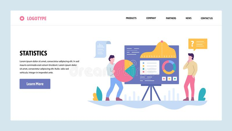 Vector web site gradient design template. Data analysis and statistics presentation. Charts and graphs. Landing page royalty free illustration