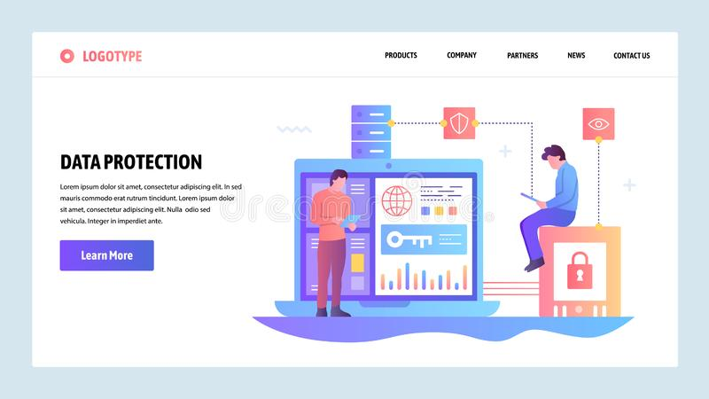 Vector web site gradient design template. Data protection, cyber security and secure login. Landing page concepts for. Website and mobile development. Modern vector illustration