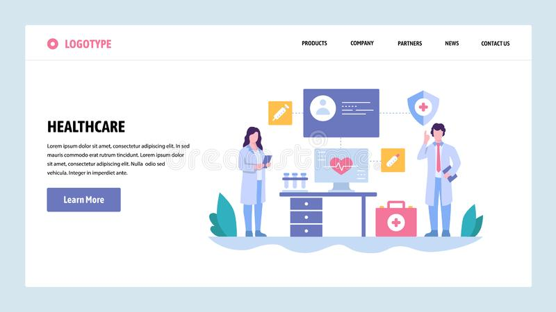 Vector web site gradient design template. Doctor and nurse in hospital, medical check up. Landing page concepts for. Website and mobile development. Modern flat stock illustration