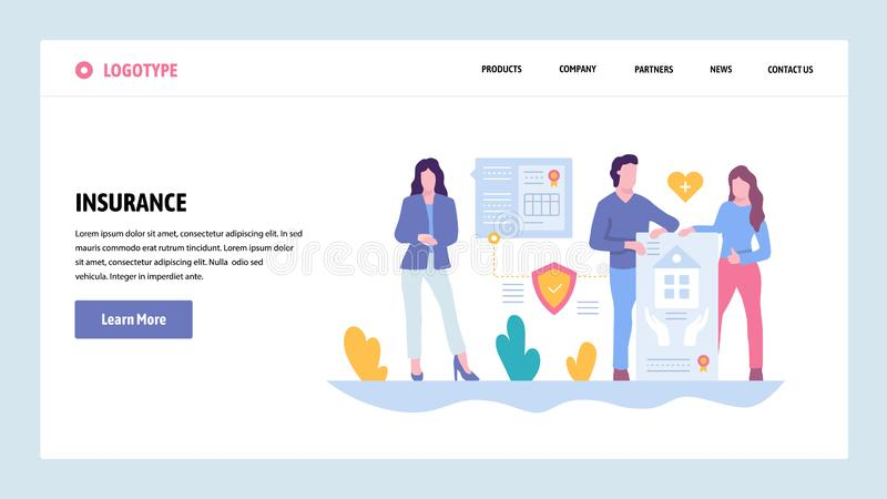 Vector web site gradient design template. Family house, car and health medical life insurance. Landing page concepts for. Vector web site gradient design stock illustration