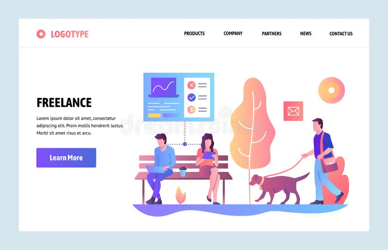 Vector web site gradient design template. Freelancers working in a park. People work on laptop and tablet. Landing page stock illustration