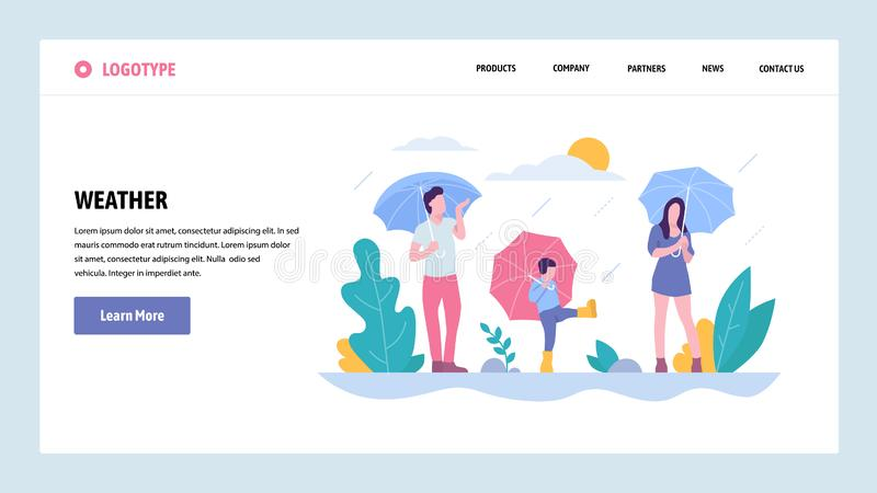 Vector web site gradient design template. Happy family walking in the rain in park. Weather on fall season day. Landing. Vector web site gradient design template vector illustration