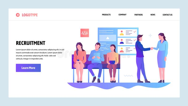 Vector web site gradient design template. Human resources and hiring. Recruitment, head hunter, job. Landing page stock illustration