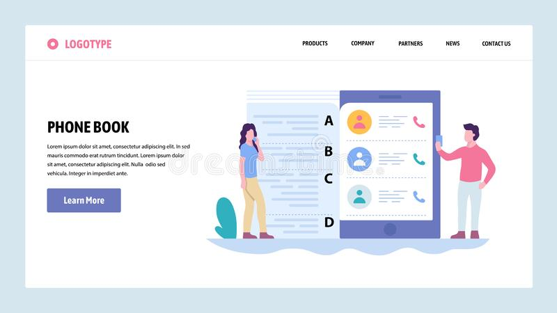 Vector web site gradient design template. Mobile phone contacts list. Landing page concepts for website and mobile stock illustration