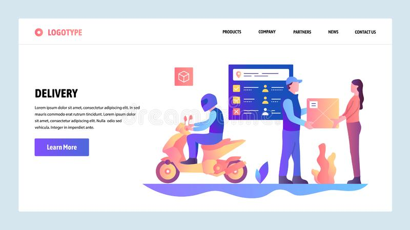 Vector web site gradient design template. Motorbike fast city delivery service. Post mail service. Landing page concepts. For website and mobile development vector illustration