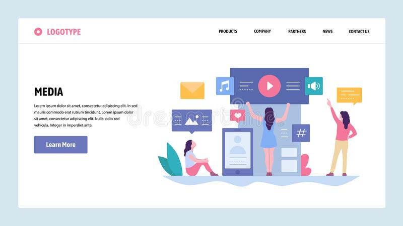 Vector web site gradient design template. Online digital media content. Music, video and photo content. Landing page royalty free illustration