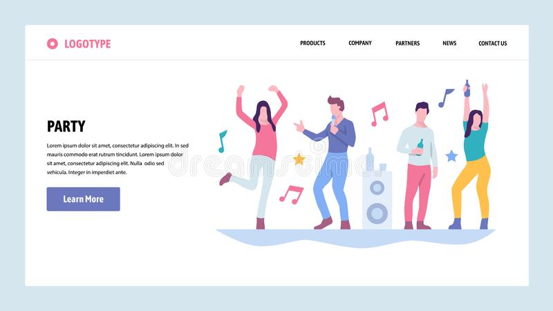Vector web site gradient design template. People dancing in night club. College student party. Landing page concepts for. Website and mobile development. Modern royalty free illustration