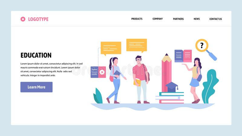 Vector web site gradient design template. School or college students chat. Digital education. Landing page concepts for stock illustration