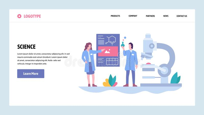 Vector web site gradient design template. Science experiment in a lab. Scientists, microscope, flask. Landing page stock illustration
