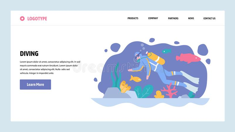 Vector web site gradient design template. Scuba diving. Diver underwater watch sea life. Landing page concepts for vector illustration