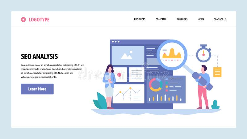 Vector web site gradient design template. SEO analytics and optimization. Online marketing and keyword suggestions royalty free illustration