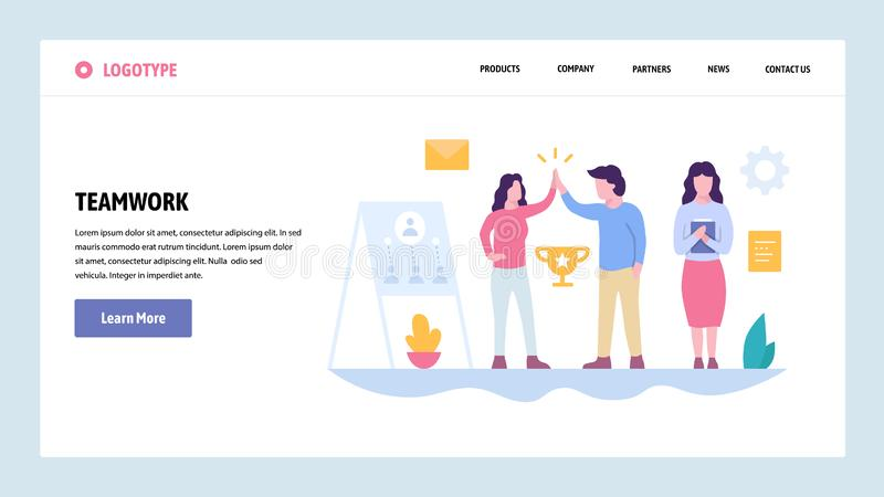 Vector web site gradient design template. Teamwork success. Team business leadership. Landing page concepts for website royalty free illustration