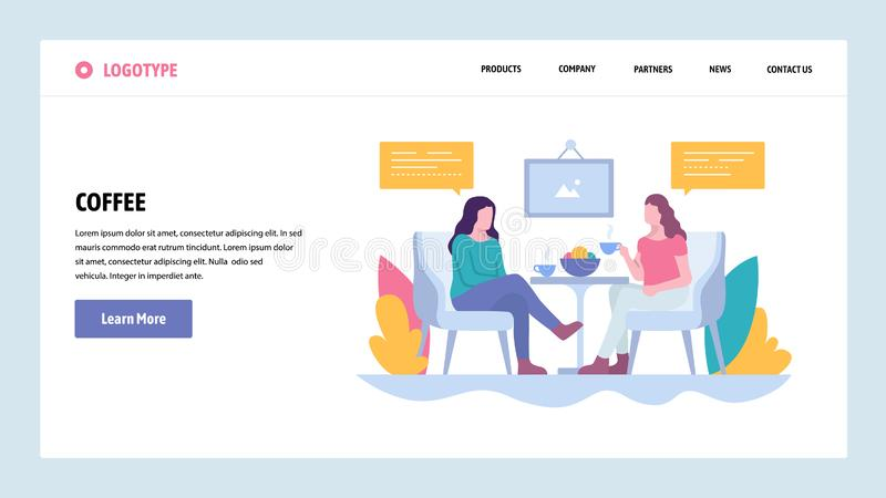 Vector web site gradient design template. Two girls drink coffee in cafe, lunch break. Landing page concepts for website. And mobile development. Modern flat stock illustration