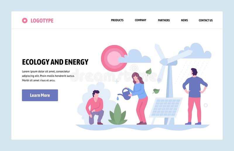 Vector web site linear art design template. Alternative source of energy. Landing page ecology and energy savings. Concepts for website and mobile development royalty free illustration