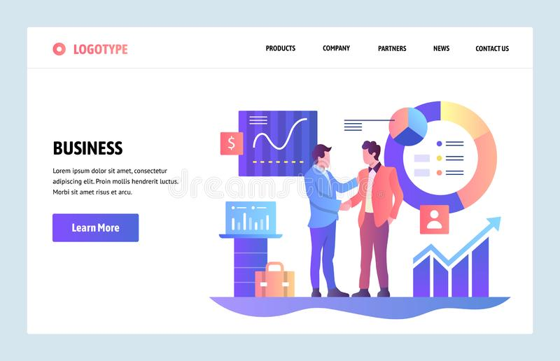 Vector web site linear art design template. Business partnership concept. Businessmen cut a deal with finance charts on. Background. Landing page for website royalty free illustration
