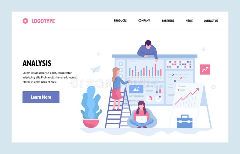 Vector web site linear art design template. Business team do data analysis using finance chart and dashboard. Landing royalty free illustration