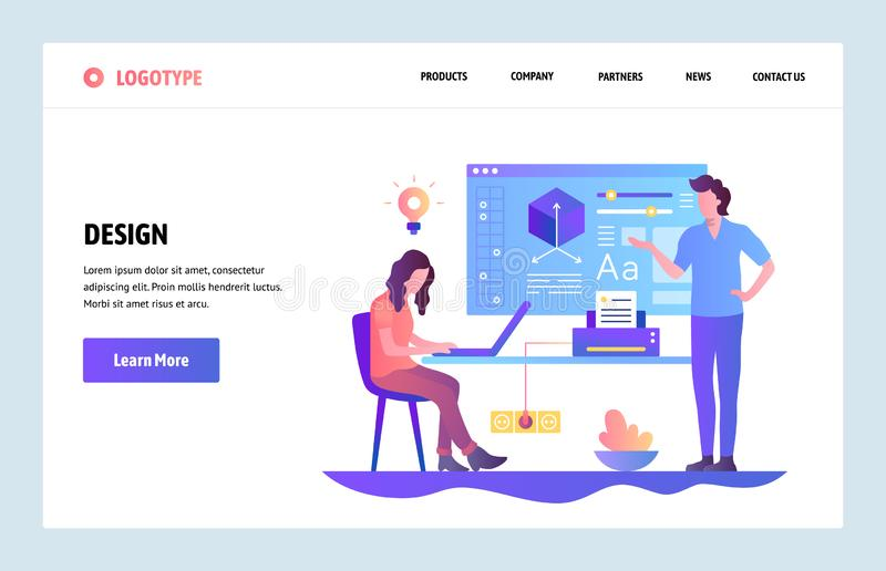 Vector web site linear art design template. Design learning course. Online education and design school. Landing page royalty free illustration
