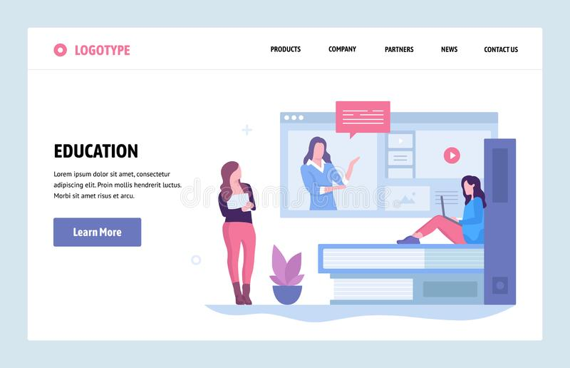 Vector web site linear art design template. Online education and internet webinar. Landing page concepts for website and. Mobile development. Modern flat royalty free illustration