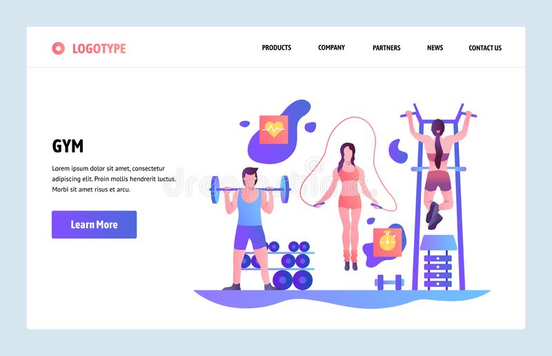 Vector web site linear art design template. People work out in gym. Landing page concepts for fitness sport website and royalty free illustration