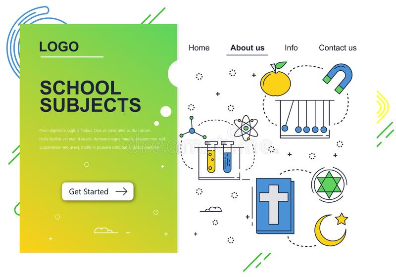 Vector web site linear art design template. School education subjects. chemistry, physics, religion. Landing page. Concepts for website and mobile development stock illustration