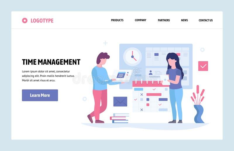 Vector web site linear art design template. Time management concept. Business project deadline and schedule. Landing stock illustration