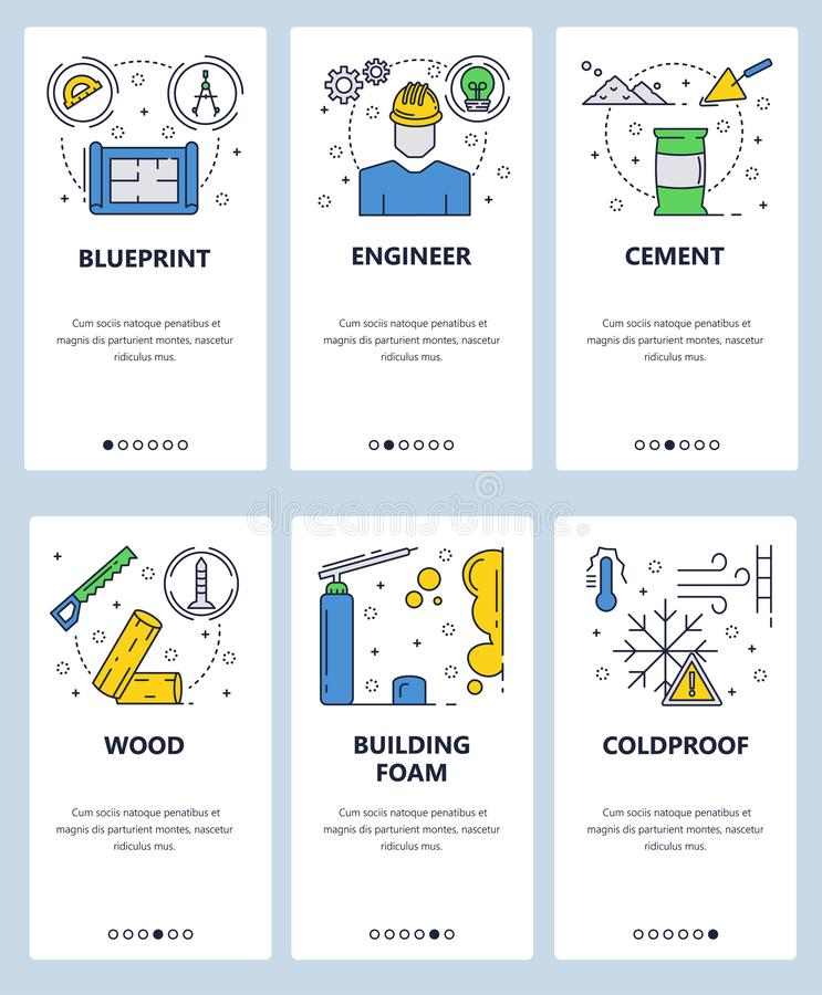 Vector web site linear art onboarding screens template. Building construction objects, engineer, blueprint, foam, cement vector illustration