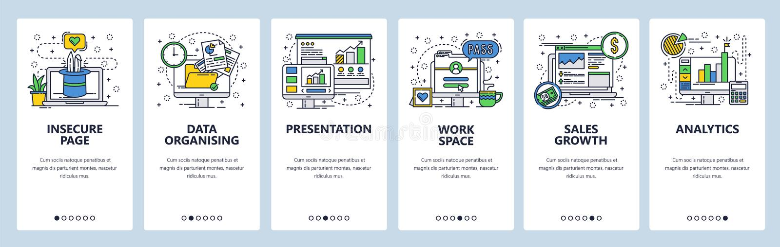 Vector web site linear art onboarding screens template. Business analytics and financial report presentation with charts royalty free illustration