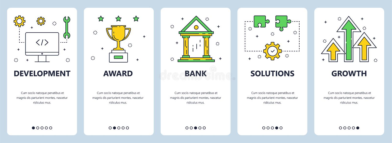 Vector web site linear art onboarding screens template. Business, finance and development icons. Menu banners for. Website and mobile app development. Modern stock illustration