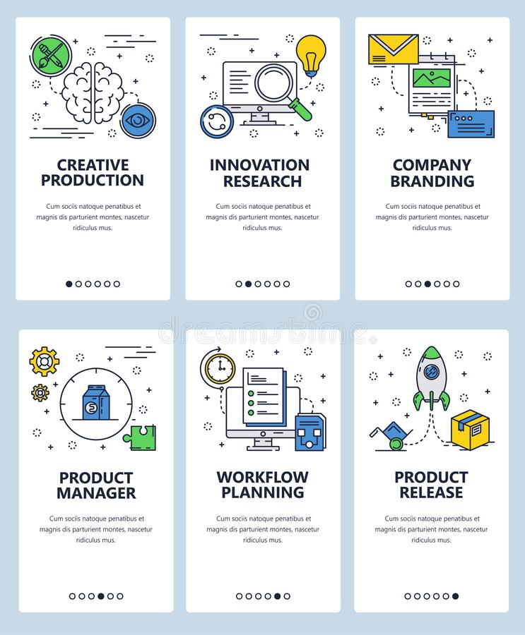 Vector web site linear art onboarding screens template. Business product management and release planning. Menu banners. For website and mobile app development royalty free illustration