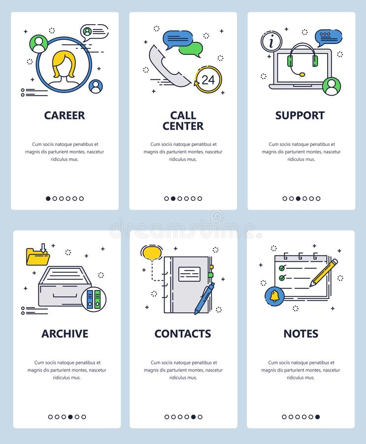 Vector web site linear art onboarding screens template. Career, support call center icons. Menu banners for website and. Mobile app development. Modern design vector illustration