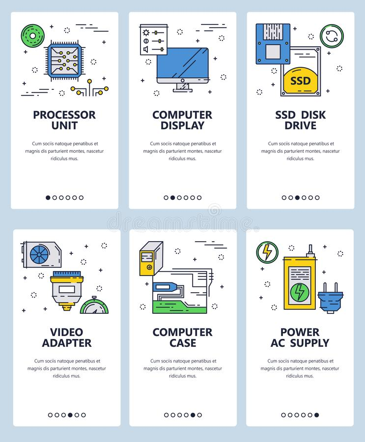 Vector web site linear art onboarding screens template. Chip, hardware and computer parts. Menu banners for website and. Mobile app development. Modern design vector illustration