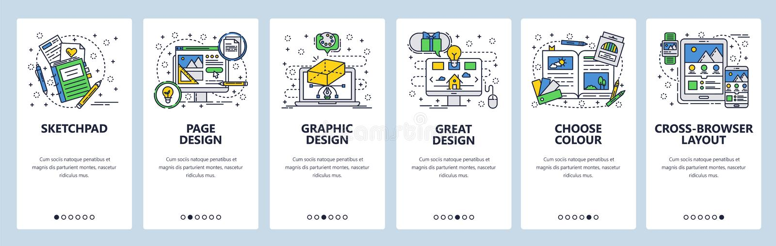 Vector web site linear art onboarding screens template. Computer graphic design and digital art. Menu banners for royalty free illustration