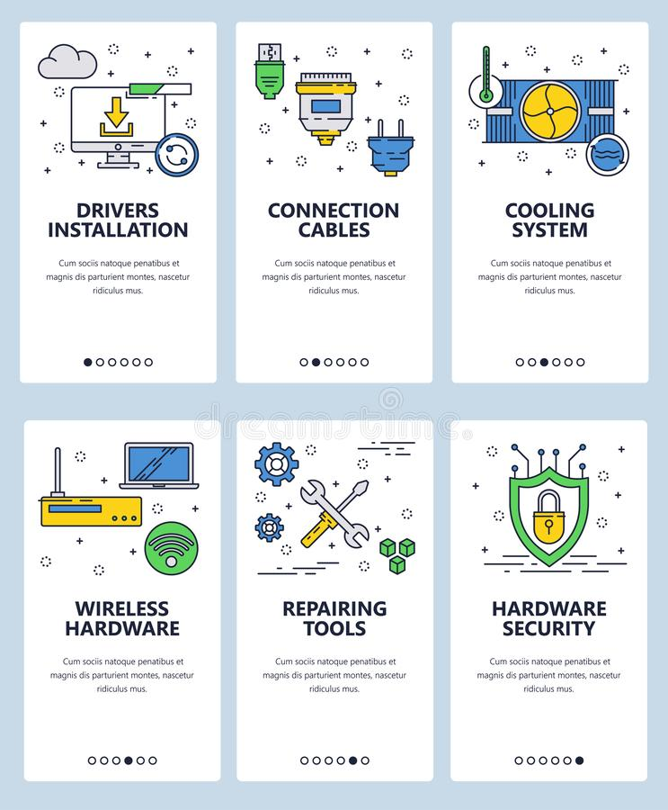 Vector web site linear art onboarding screens template. Computer hardware parts and security. Menu banners for website. And mobile app development. Modern stock illustration